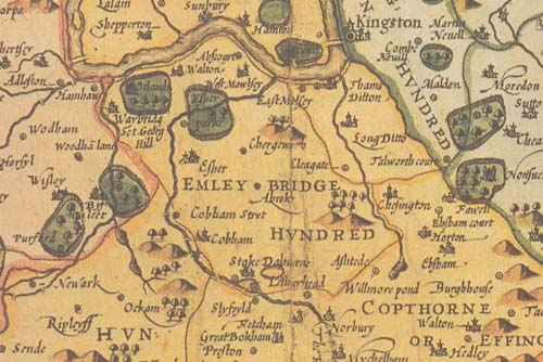 Emley Bridge Hundred on John Speed's map of Surrey, 1610